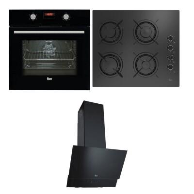 Teka - Teka Ankastre Set; HAK 625 N Fırın, HEL LUX 60 4G AI AL L Ocak, ATV 60 Davlumbaz, Siyah